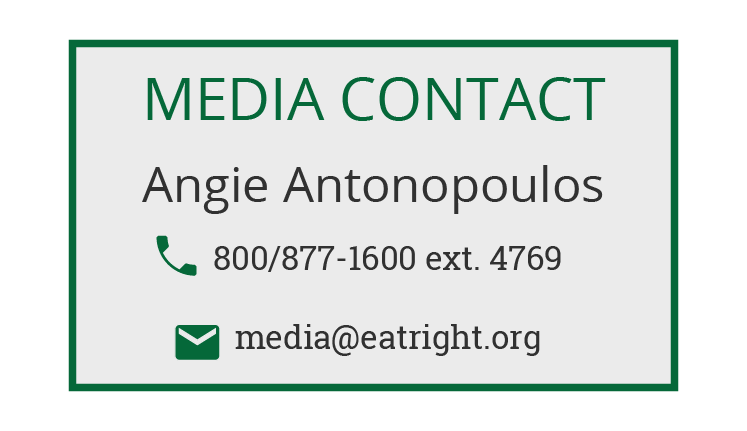 Email the Academy's Media Department: media@eatright.org