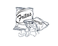 Chips Black-and-White Illustration