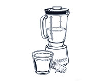 Fresh Fruit Juice (A) Black-and-White Illustration