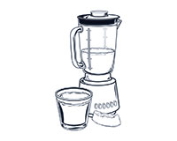Fresh Fruit Juice (B) Black-and-White Illustration
