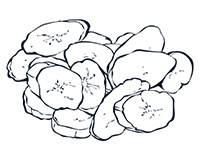 Tostones Black-and-White Illustration