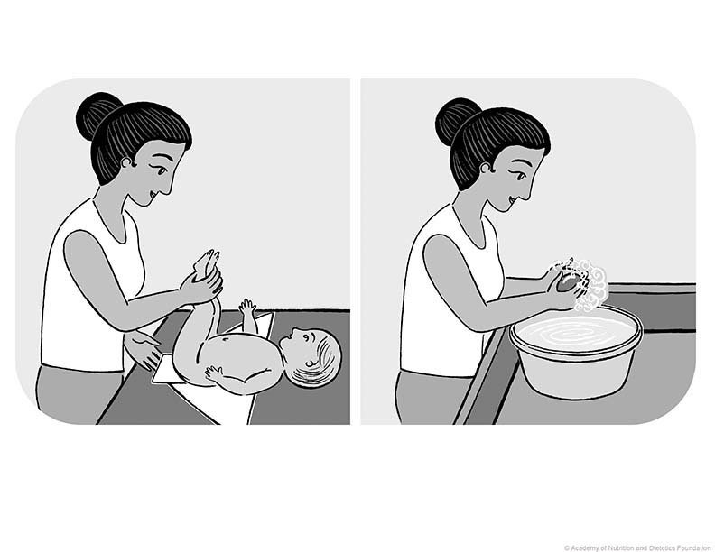 Illustration: Woman and baby on changing table