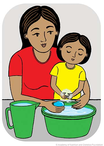 Illustration: woman and kid washing hands