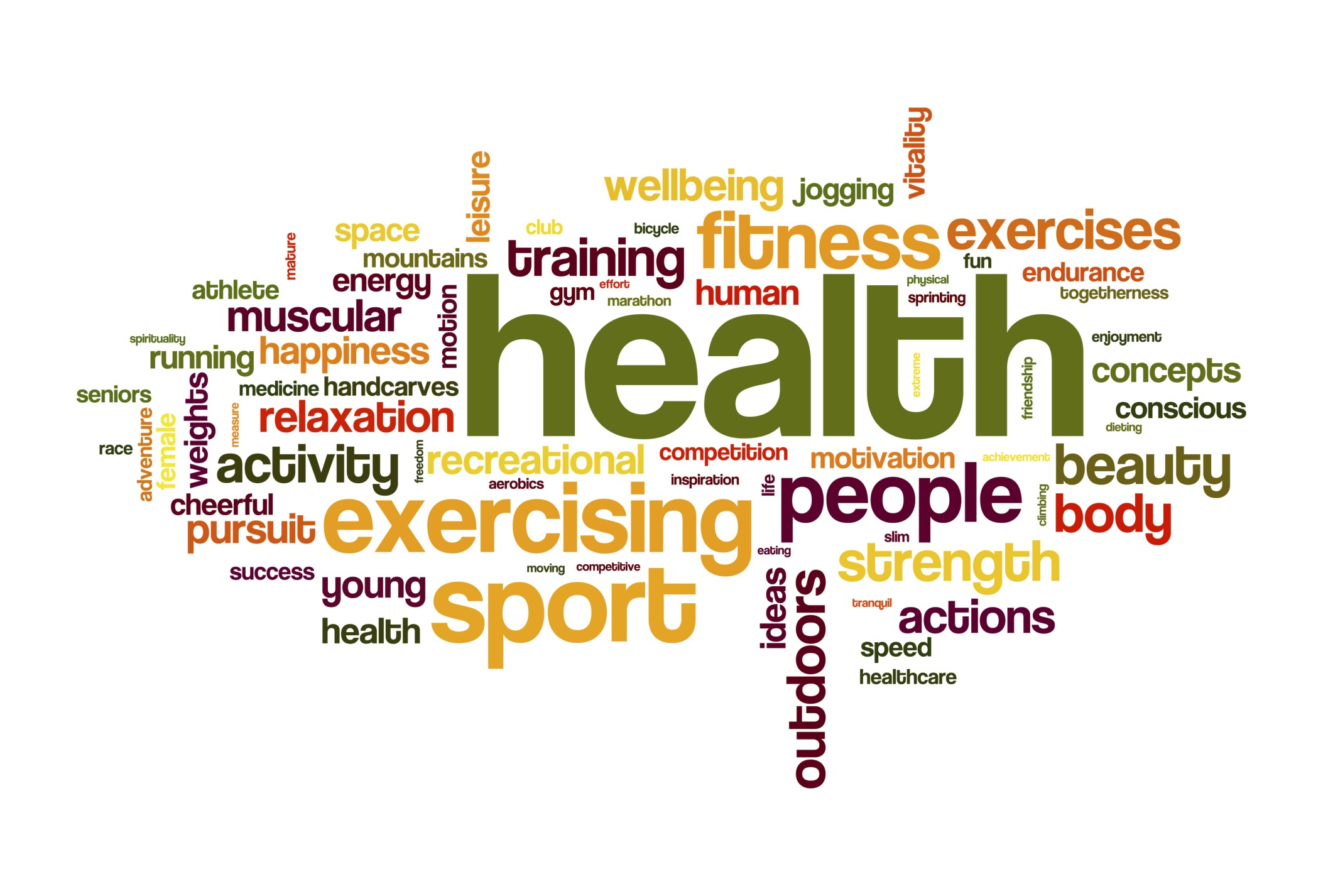 A word cloud featuring words associated with nutrition.