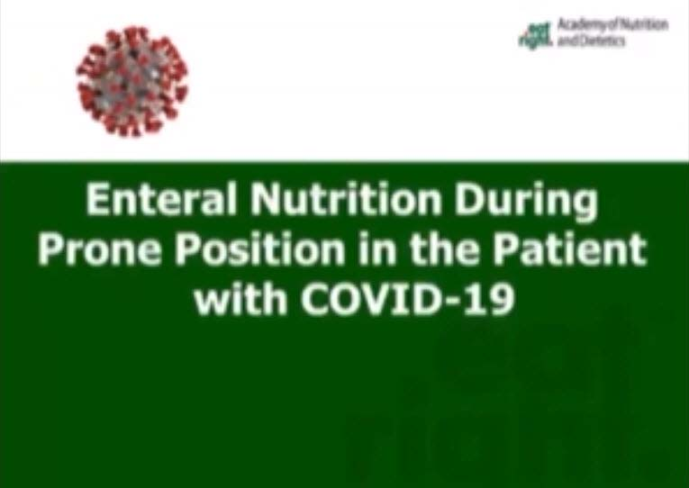 "Still from the webinar ""Enteral Nutrition During Prone Position in the COVID-19 Patient"""