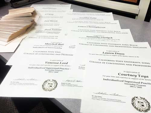 Long Beach Dietetic Intern Certificates