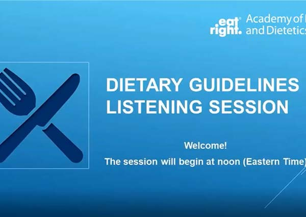 Opening Slide for the Dietary Guidelines Listening Session.