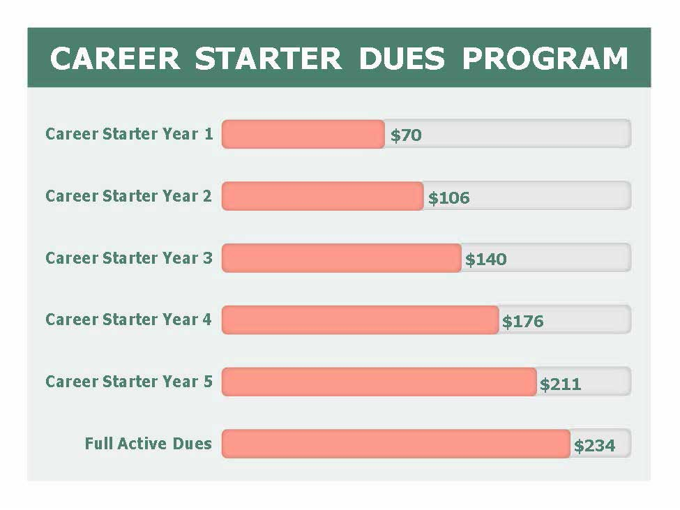 Image of graph of dues for career starters