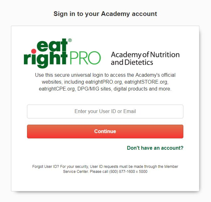 Screenshot of new Academy login page.