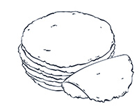 Corn Tortilla Black-and-White Illustration