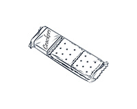 Snack Crackers Black-and-White Illustration
