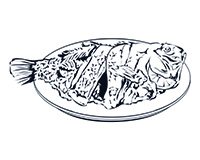 Tilapia Black-and-White Illustration
