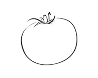 Tomato Black-and-White Illustration