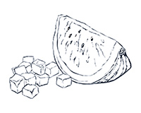 Watermelon Black-and-White Illustration