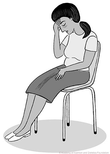 Illustration of tired woman