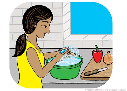 Illustration: Woman washing hands